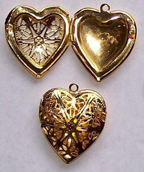 Gold Filigree Empty Solid Perfume Heart Locket 284x