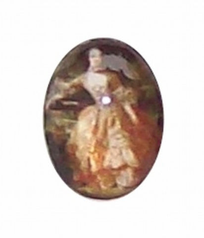 18x13mm Glass Cameo of Victorian Lady in Dress 291x