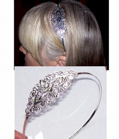 Silver Headband with Filigree 298x