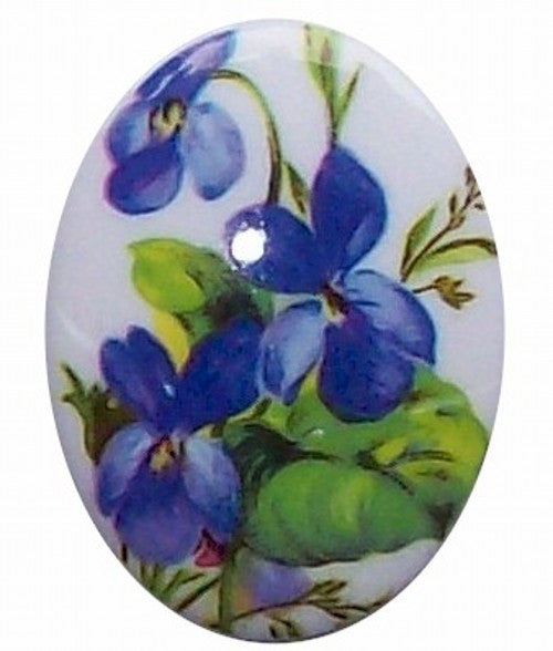 40x30mm Blue Violets Plastic Decal Cameo Cabachon German 302x