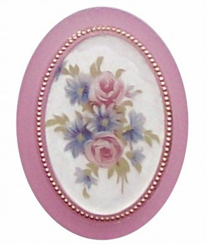 40x30mm Pink Flower Mirror Back Cameo 303x