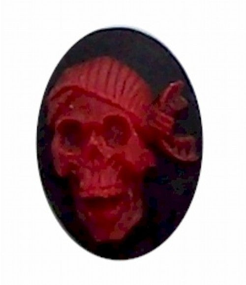 25x18mm Skull Skeleton Red with Bandana Resin Cameo 305x