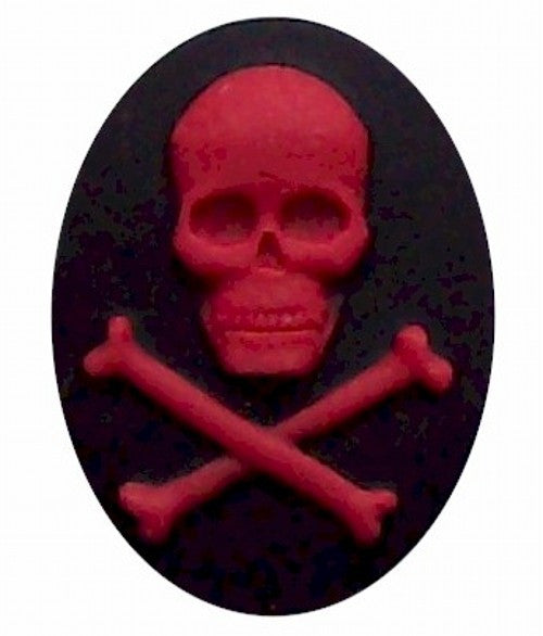 40x30mm Black and Red Skull Skeleton Resin Cameo 306x