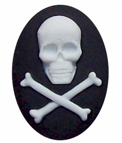 40x30mm Black and White Skull and Cross Bones Pirate Cameo 308x