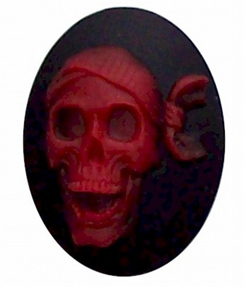 40x30mm Resin Black and Red Skull Skeleton Cameo 310x