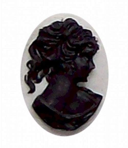 25x18mm Black and White Ponytail Girl Resin Cameo 313x