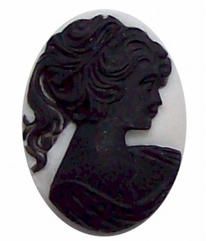40x30mm Black and White Pony Tail Girl Resin Cameo 314x
