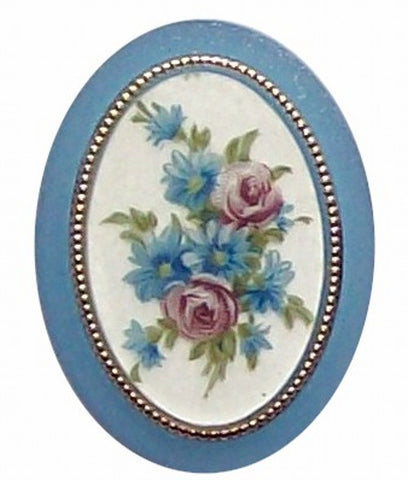 Item#317x Plastic 40x30 Blue Flower Mirror Back Cameo