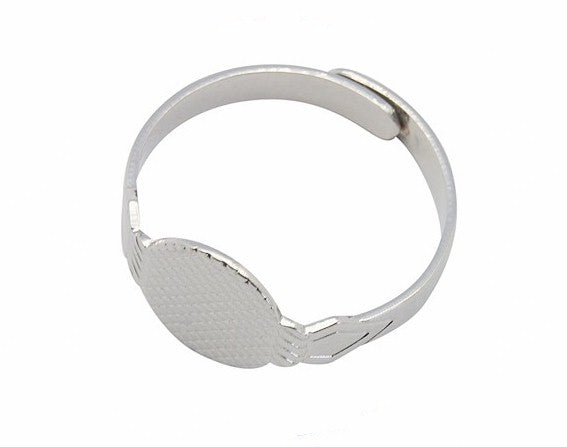 Adjustable Silver Ring with 10mm Glue on Gluing Pad 319q