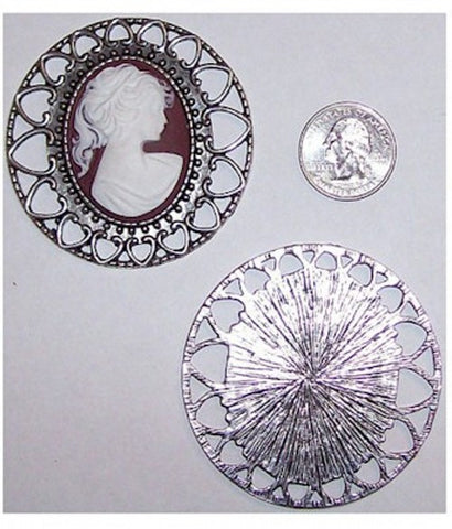 Silver 40x30mm Large cameo Setting 330x