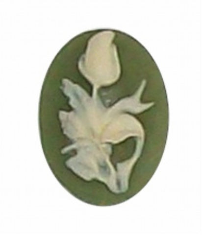18x13mm Green and Ivory Rose Resin Cameo 343x
