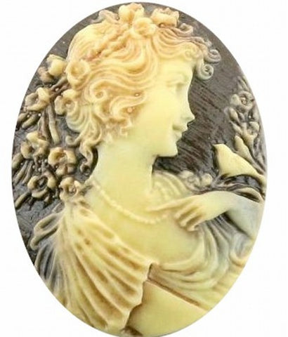 40x30mm Antiqued Brown Woman with Bird Resin Cameo 344x