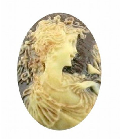 25x18mm Antiqued Brown Woman with Bird Resin Cameo 345x