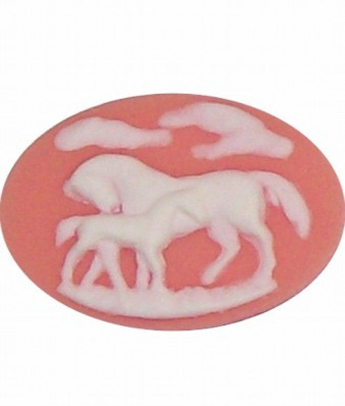 40x30mm Pink and White Horse and Colt Equestrian Resin Cameo 346x