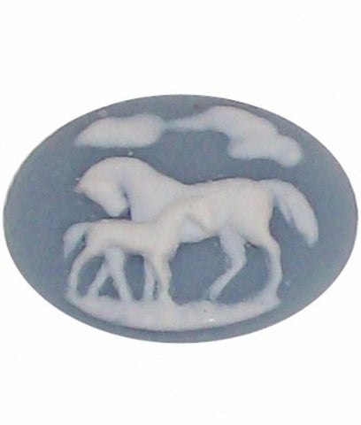 40x30mm Blue Horse and Colt Equestrian Resin Cameo 347x