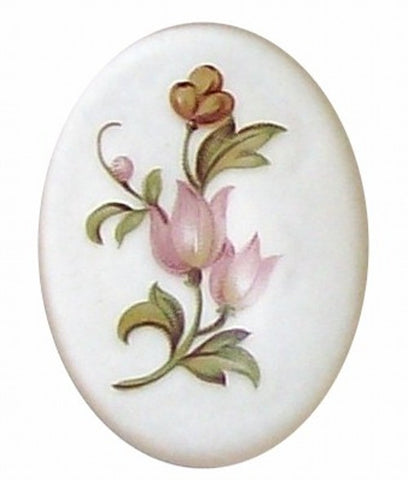 Item#348x Plastic 40x30 Pink Mirror Back Flower Cameo