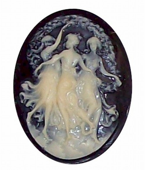 40x30mm Black and Ivory Three Girls Dancing Resin Cameo 350x