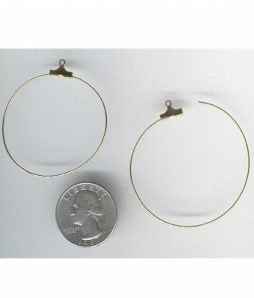 Gold 1.5inch Earring Hoops Earring Finding ( sold by the pair)