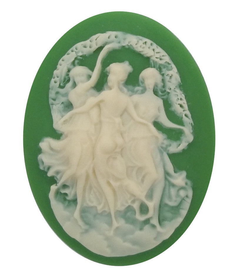 40x30mm Three Muses three Graces Dancing Girls Resin Cameo 352x