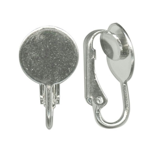 Silver Clip On Earring 8mm flat pad ear clip (pair) 355q