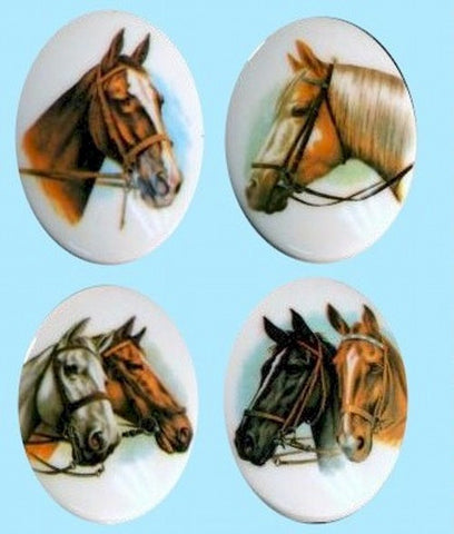 Horse Equestrian Cameos Set of 4 images 40x30mm Plastic 357x