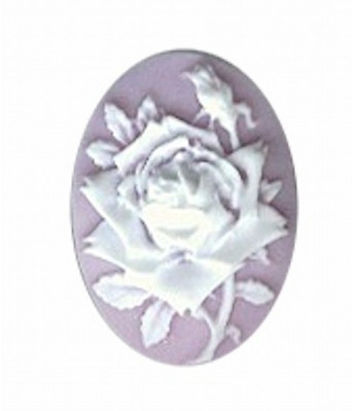 Cameo 25x18mm lilac and white rose resin jewellery supplies 35A