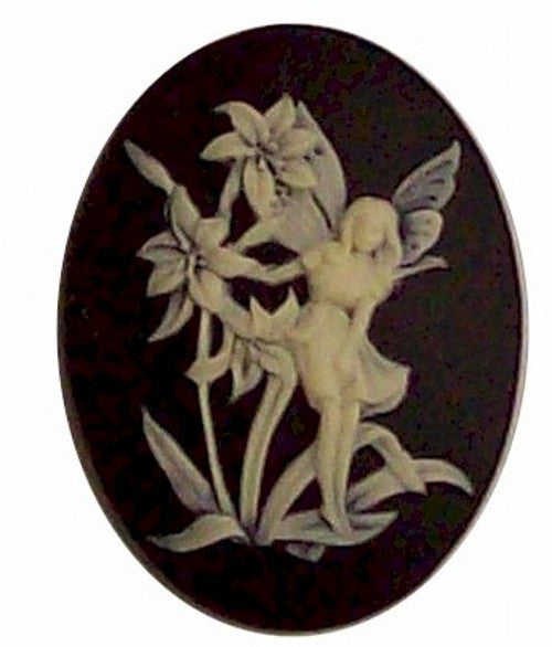40x30mm Fairy Nymph Resin Cameo Cabochon Black and Ivory 361x