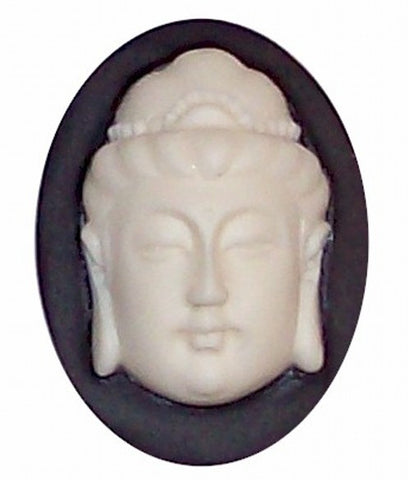 3-D Gautama Buddha Black and White Cameo Resin 40x30mm 363x