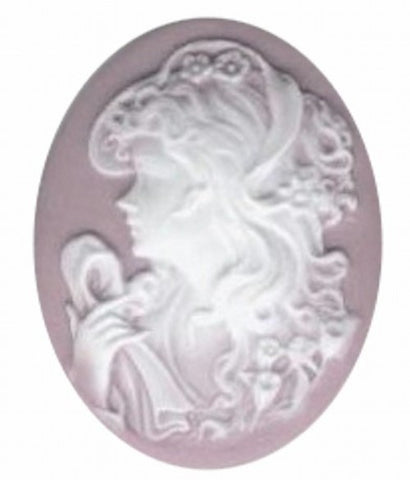 40x30mm Lilac and White Woman with Scarf Resin Cameo 364q