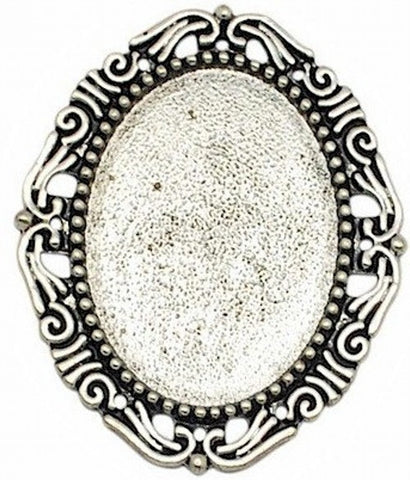 40x30mm Antique Silver Cameo Setting No Ring No Pin 367x