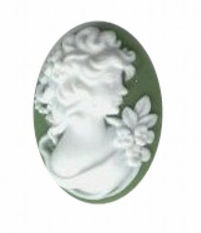 25x18mm Green and White Woman with Flowers Resin Cameo profile 368q