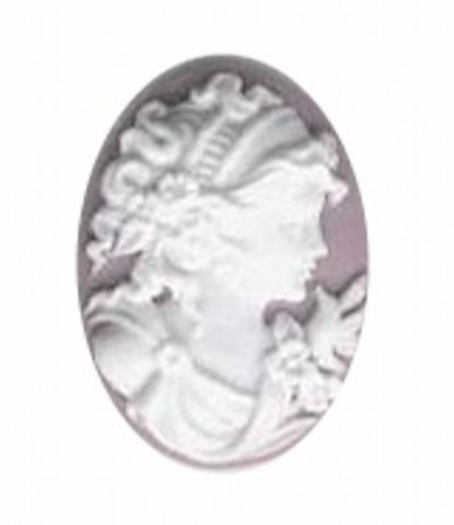 25x18mm Lilac and White Woman with Bird Resin Cameo 370q