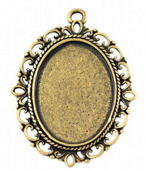 25x18mm Antique Gold Cabochon Setting with Ring 370x
