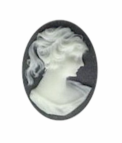 25x18mm Black and Ivory Ponytail Girl Resin Cameo 372q
