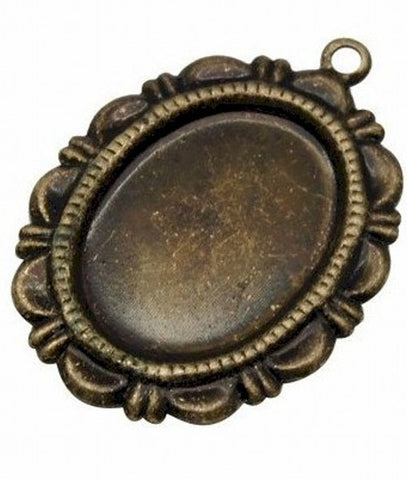 18x13mm Antiqued Bronze  Cameo Setting with Ring 372x