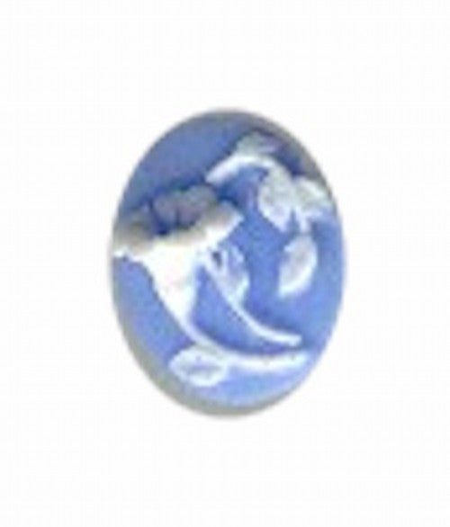 10x8mm Blue and White Trumpet Style Flower Resin Cameo 37A