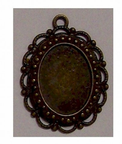 Antiqued Bronze 18x13mm Cameo Setting with Ring 389x