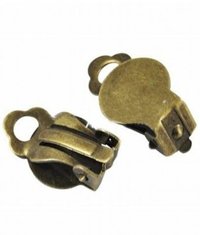 Antiqued Brass Ear Clip with Pad  Sold by the pair Item#394x