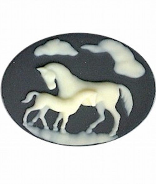 40x30mm Horse and Colt Black and White Horizontal Resin Cameo 3A