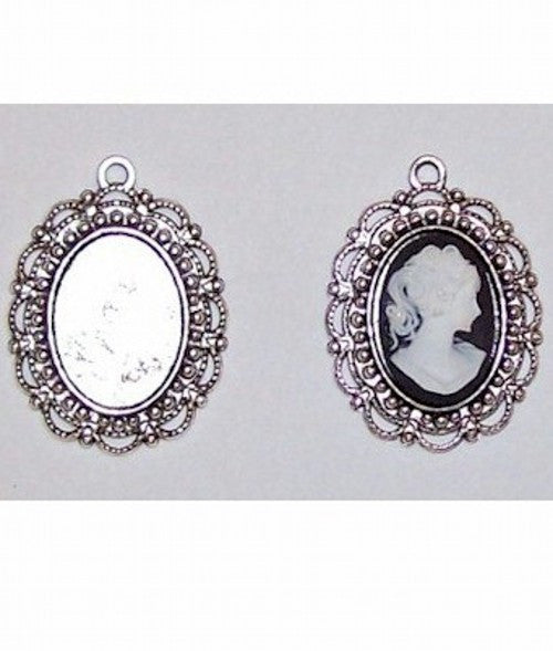 Silver 18x13mm- 18x14mm  Cameo Cabochon Setting with Ring 405x