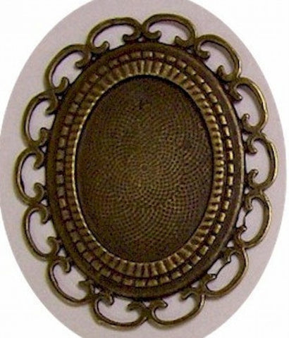 Antique Bronze 40x30mm Filigree Cameo Setting 409x