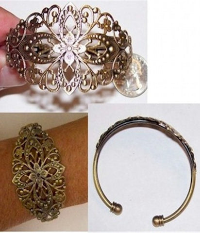 Antique Bronze Cuff Bracelet with Filigree Item#414x