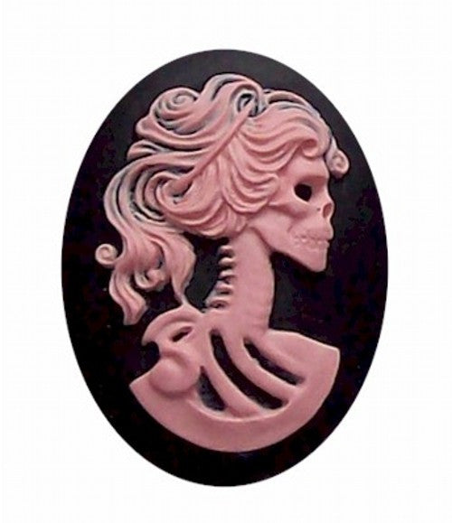 Pink and Black goth skull Skeleton 25x18mm Resin Cameo 419x