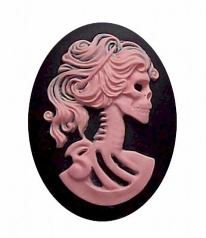 Lolita Pink and Black skull Skeleton 25x18mm Resin Cameo 419x