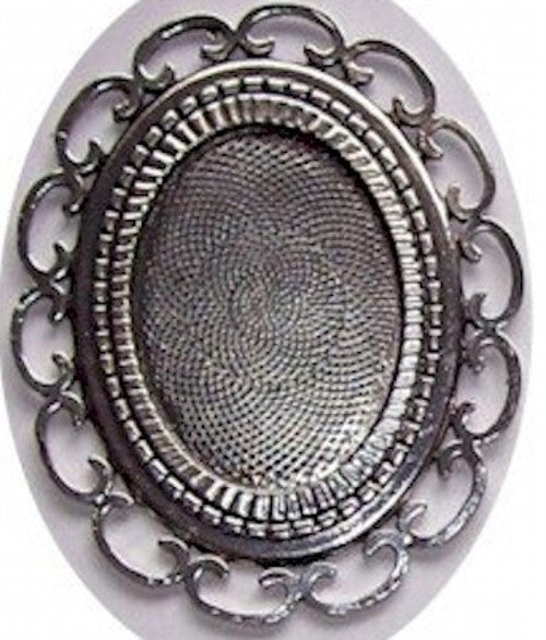 Cameo Setting Cabochon Mounting Antique Silver 40x30mm Large Filigree  426x