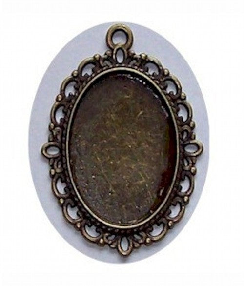 Antique Bronze 25x18mm Cabochon Setting with Loop 430x