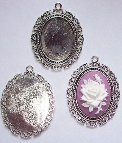 Antique Silver 40x30mm Cabochon Pendant Setting with ring 433x