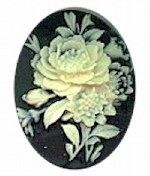 40x30mm Black and Ivory Flower Bouquet Resin Cameo 452R