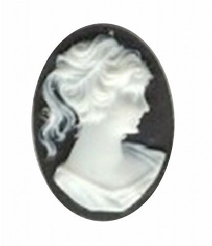 25x18mm black and white ponytail resin cameo 45R