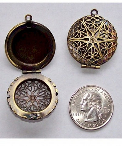Filigree Locket Perfume Locket Supplies Scent Lockets Wholesale  26mm bronze  469x